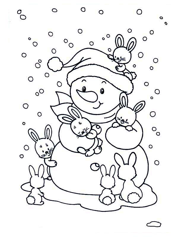 Winter, : Friendly Snowman with Bunch of Rabits During Winter Coloring Page