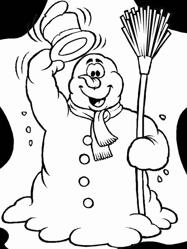 Winter, : Funny Snowman Says Hello Winter Coloring Page