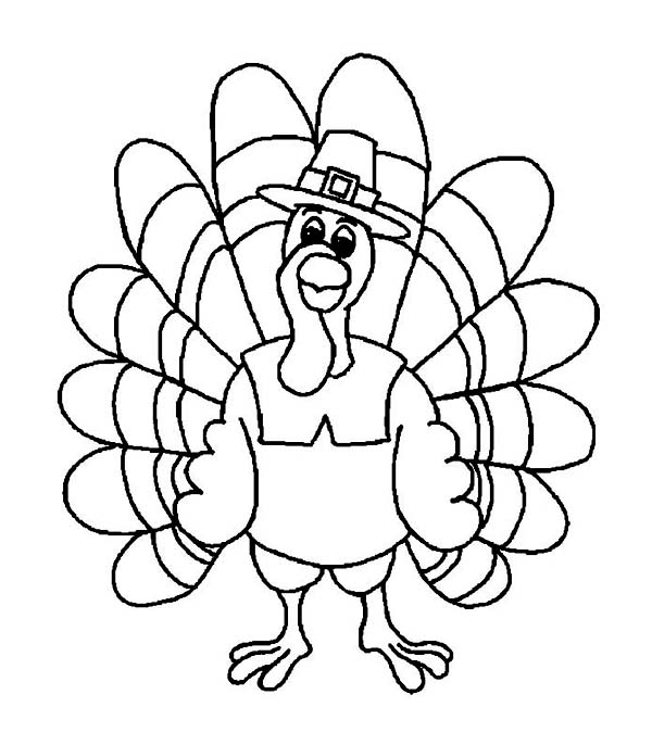 Thanksgiving Day, : Funny Thanksgiving Day Turkey Wearing Pilgrim Hat Coloring Page