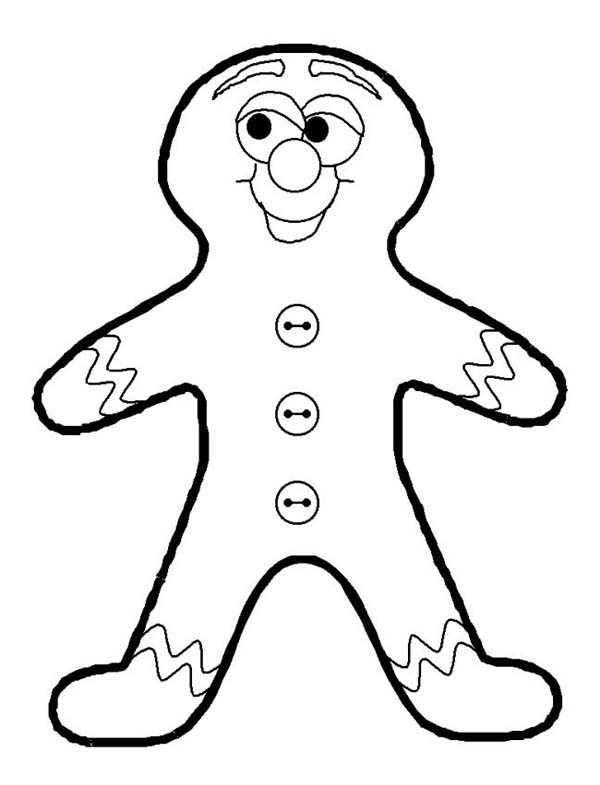 Winter, : Gingerbread Man as Favorite Winter Cookies Coloring Page