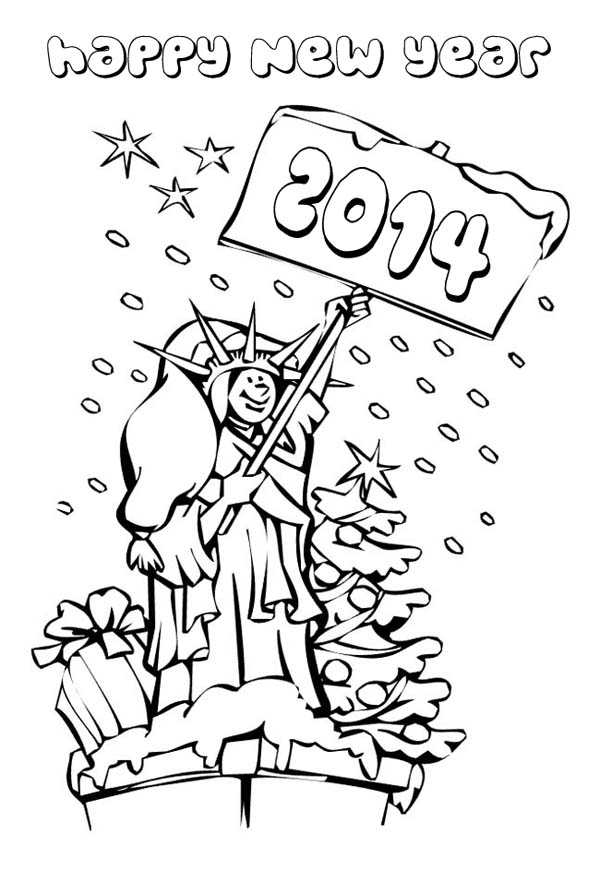 New Year, : Happy 2014 New Year Says Mrs Liberty Coloring Page