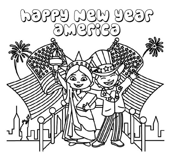 New Year, : Happy New Year USA Coloring Page