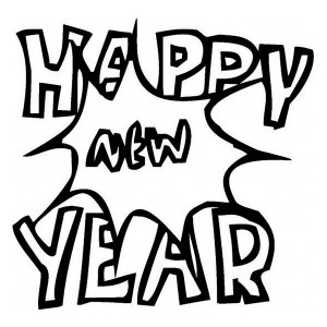 2014 New Years Party Sign Board Coloring Page 2014 New Years