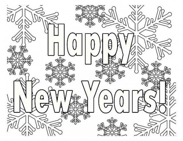 New Year, : Happy New Years Sign with Snowflake Decoration Coloring Page