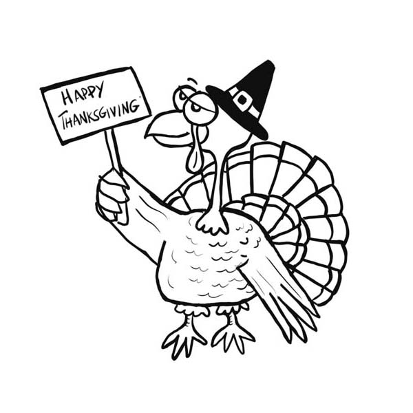 Thanksgiving Day, : Happy Thanksgiving Day Says Old Pilgrim Turkey Coloring Page