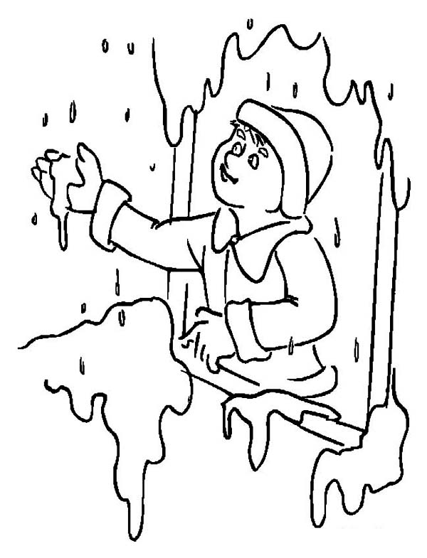 Winter, : Heavy Snow Rain on Winter Coloring Page