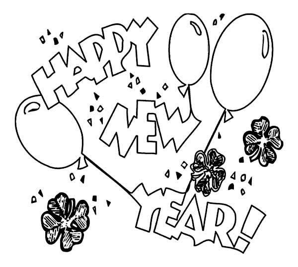 New Year, : Irish Shamrocks New Year Celebration Coloring Page
