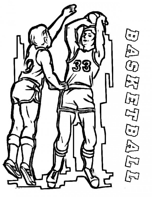 Basketball, : Kid Blocking a firect shot basketball coloring page