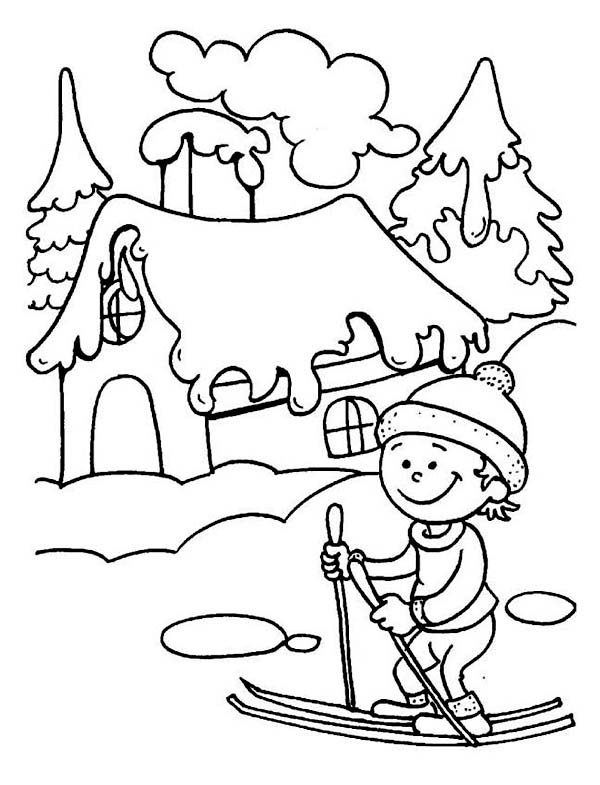 Winter, : Little Kid Learning How to Play Ski on Winter Coloring Page