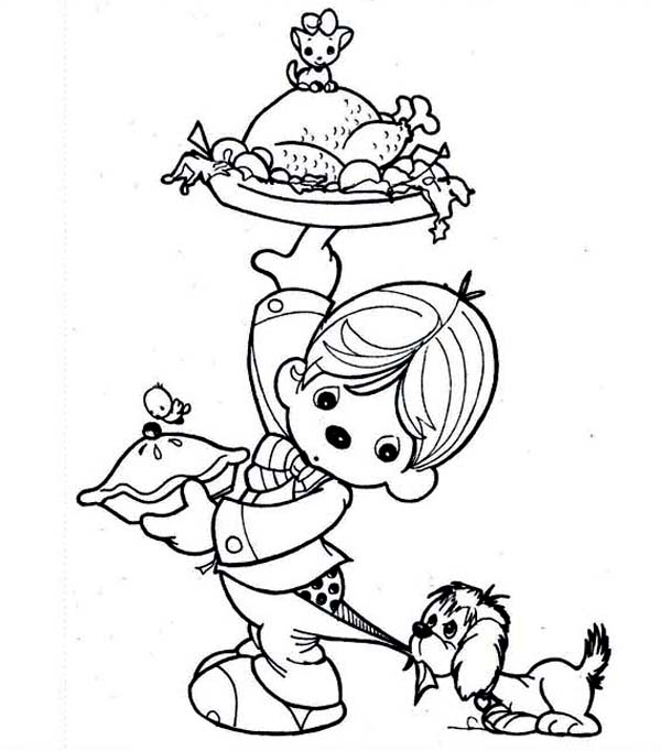 Thanksgiving Day, : Little Kid Lifting Thanksgiving Day Turkey Coloring Page