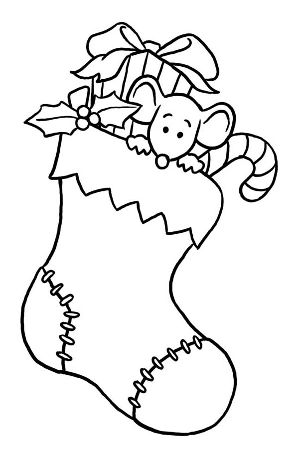 Christmas, : Little Mouse Hidding on Christmas Stocking Coloring Page