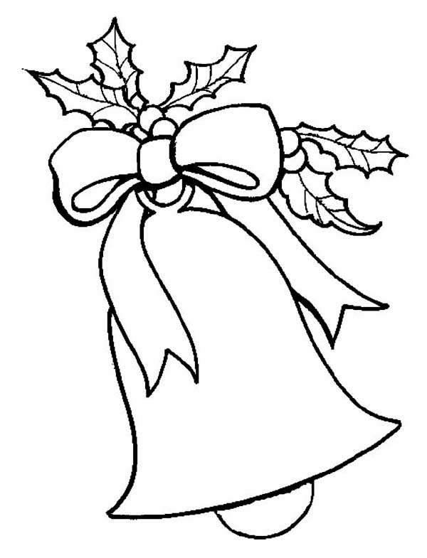 Christmas, : Lovely Christmas Bell Decoration Coloring Page