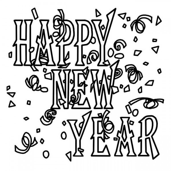 New Year, : Lovely New Years Decoration Coloring Page