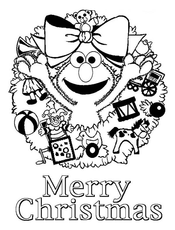 Christmas, : Merry Christmas from Elmo Coloring Page