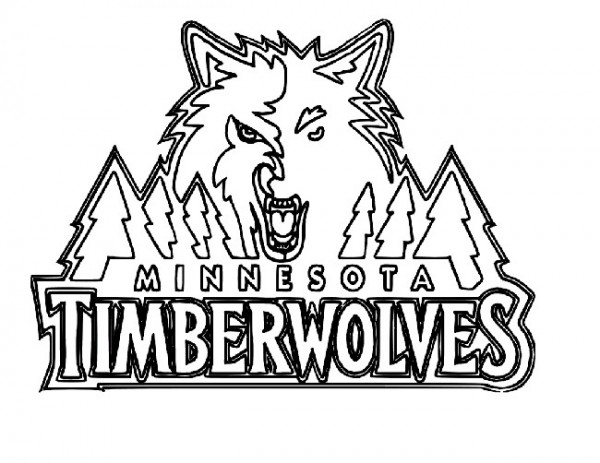 Basketball, : Minnesota Timberwolves Logo Coloring Page