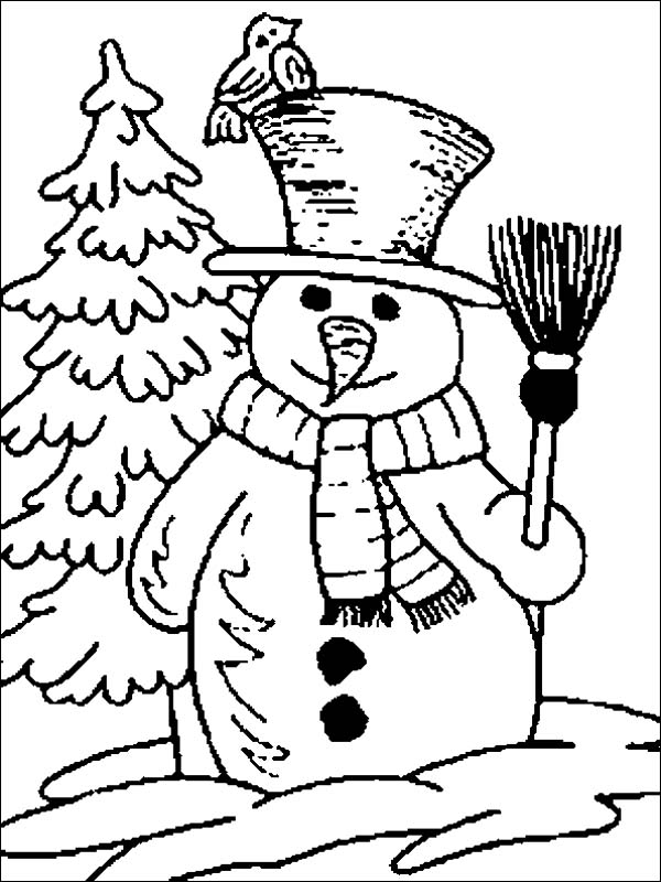 Winter, : Mr Snowman Figure on the Open Winter Field Coloring Page