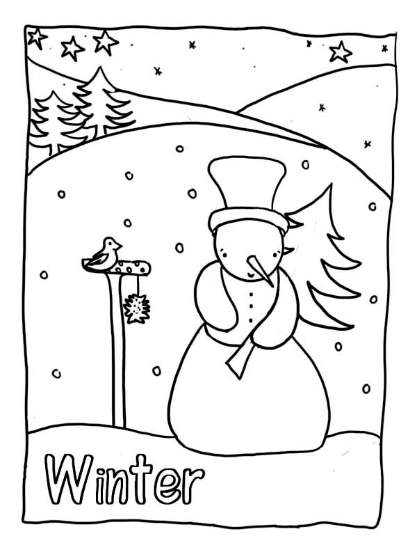 Winter, : Mr Snowman Holding a Pine Tree on Heavy Winter Coloring Page