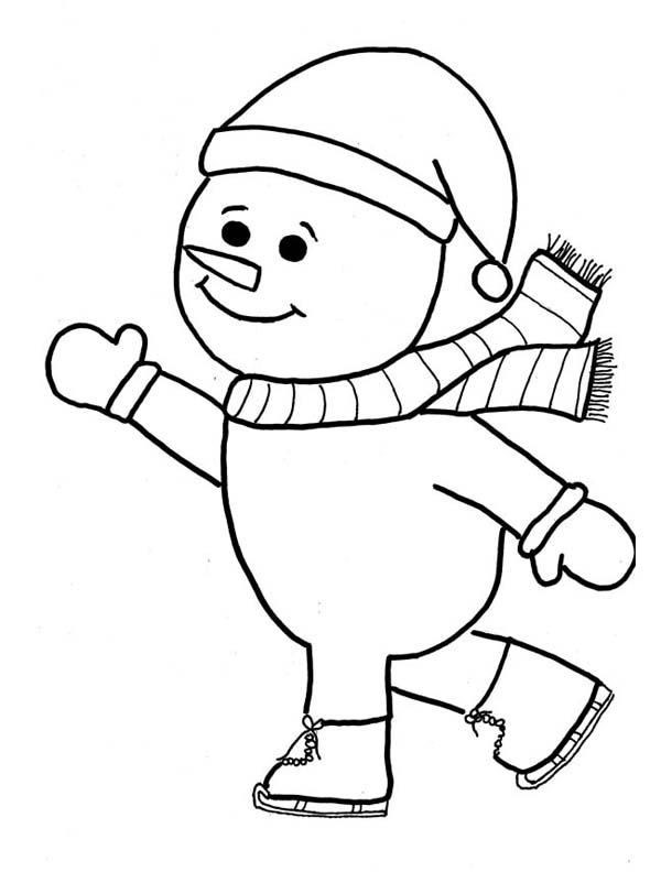 Winter, : Mr Snowman Playing Skate on Winter Coloring Page