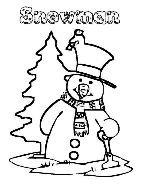 Christmas, : Mr Snowman Preparing for Christmas Coloring Page