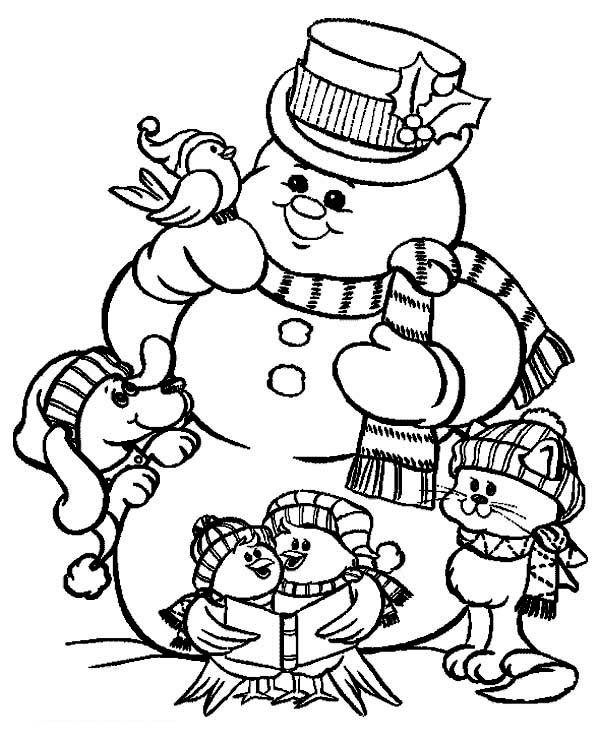 Christmas, : Mr Snowman and Friends Celebrating Christmas Coloring Page