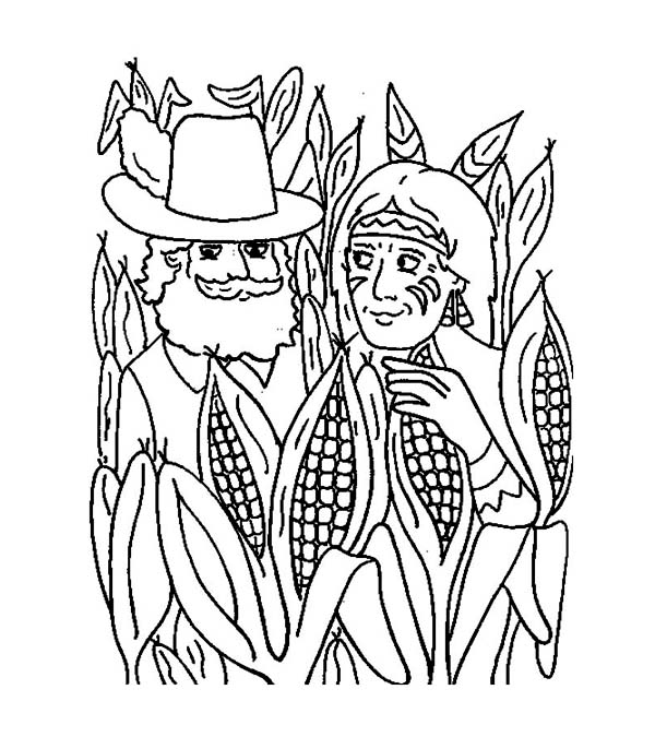 Thanksgiving Day, : Native American and Pilgrim in Corn Field During Thanksgiving Day Coloring Page