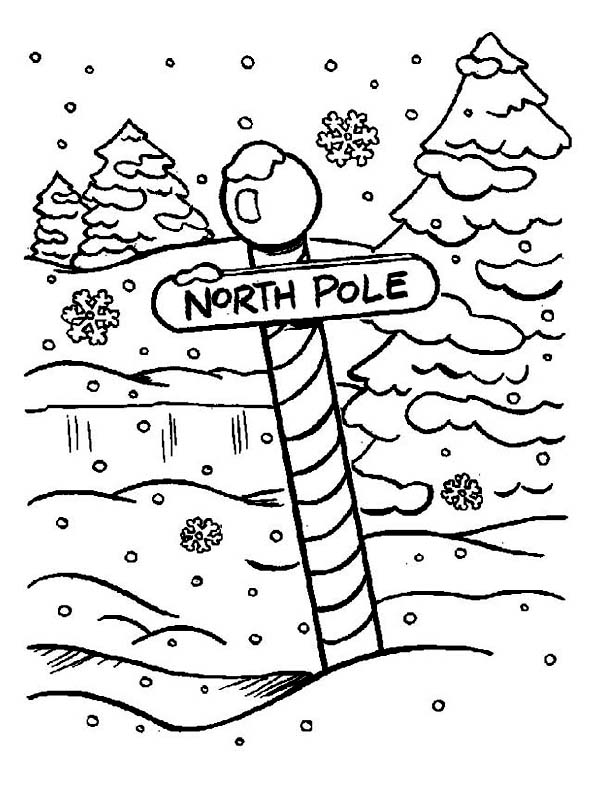 Winter, : North Pole Sign on Heavy Winter Snow Coloring Page