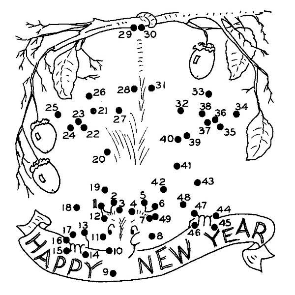 New Year, : Playing Dotted in New Years Eve Coloring Page