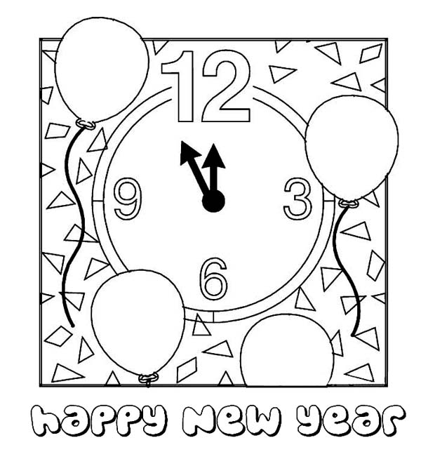 New Year, : Preparing for the New Years Countdown Coloring Page