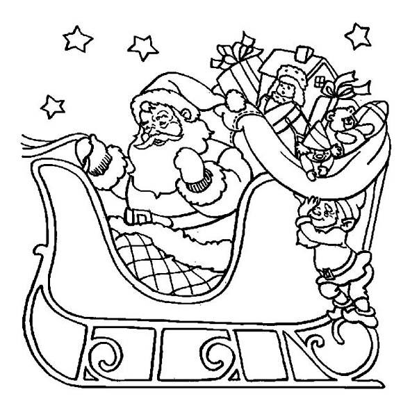 Christmas, : Santa Riding His Sleigh on Christmas Eve Coloring Page