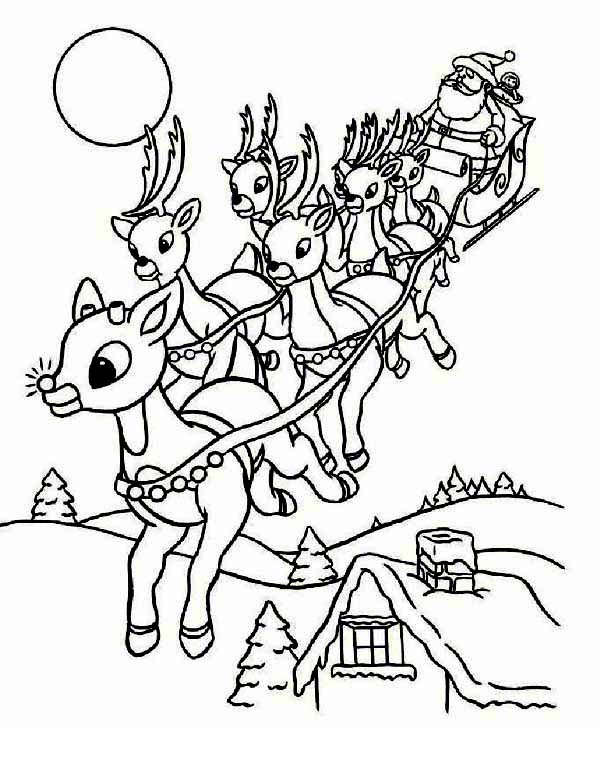 Christmas, : Santas Riding Christmas Sleigh on Christmas Eve Coloring Page