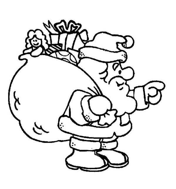 Christmas, : Santas with a Fat Christmas Sacks for Good Kids Coloring Page