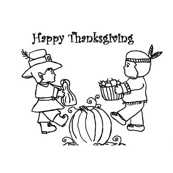 Thanksgiving Day, : Sharing Foods with the Natives on Thanksgiving Day Celebration by  Coloring Page