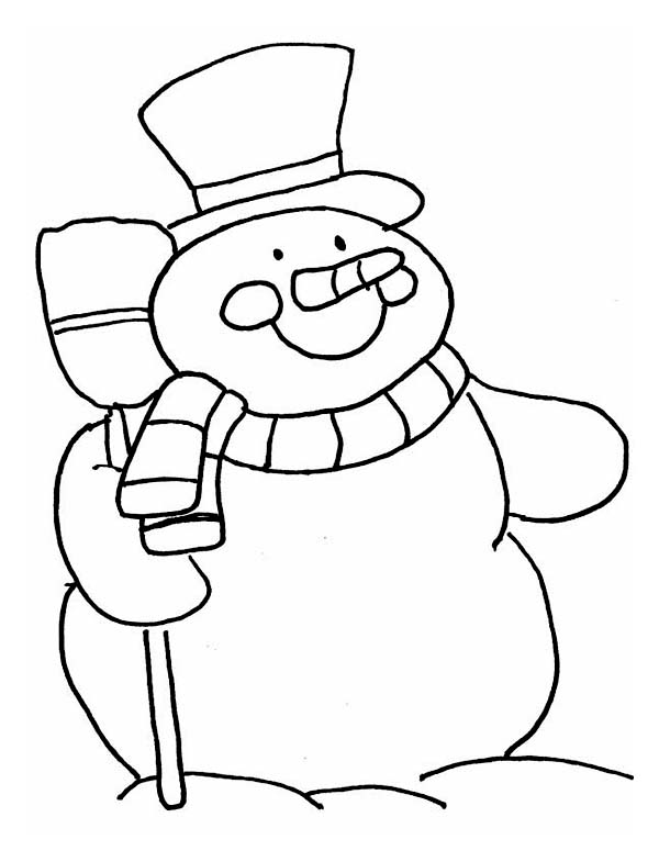 Winter, : Snowman Holding a Broom in Winter Coloring Page