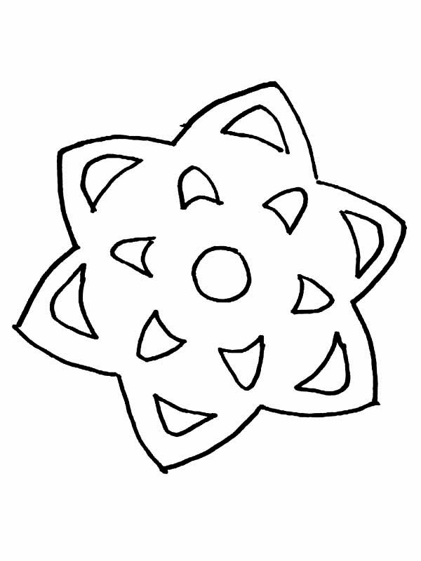 Winter, : Star Shaped Snowflake on Winter Coloring Page