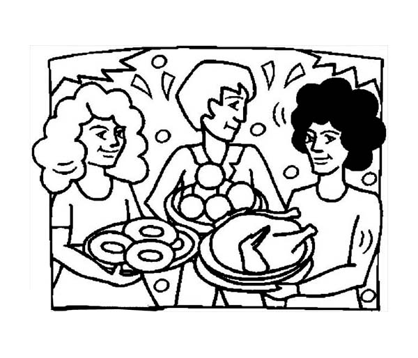 Thanksgiving Day, : Thanksgiving Day Dinner with Friends Coloring Page