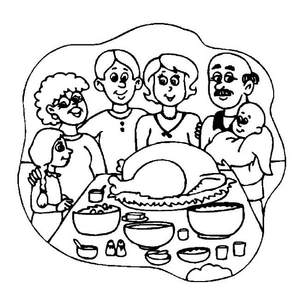 Thanksgiving Day, : Thanksgiving Day Dinner with Whole Families Coloring Page