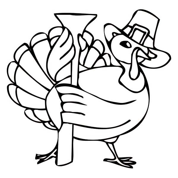 Thanksgiving Day, : Thanksgiving Day Turkey Holding a Colonial Gun Coloring Page