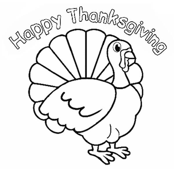 Thanksgiving Day, : Thanksgiving Day Turkey Says Happy Thanksgiving to All Coloring Page
