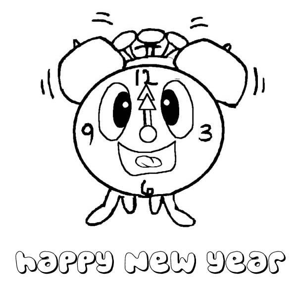 New Year, : The Funny Clock Greetings the New Year Coloring Page