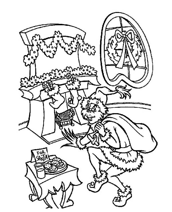 Christmas, : The Grinch Sneaking Out to Steal Christmas Gifts Coloring Page