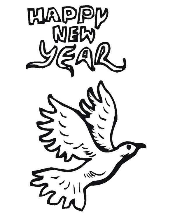 New Year, : The Pigeon Says Happy New Year to Everyone Coloring Page