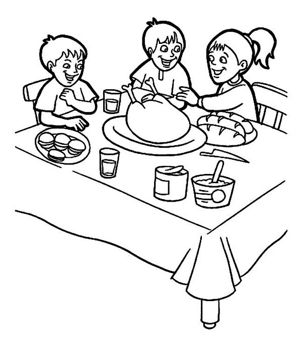 Thanksgiving Day, : Three Kids Doing Breakfast on Thanksgiving Day Coloring Page