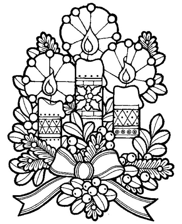 Christmas, : Three Lovely Candles for Christmas Eve Coloring Page