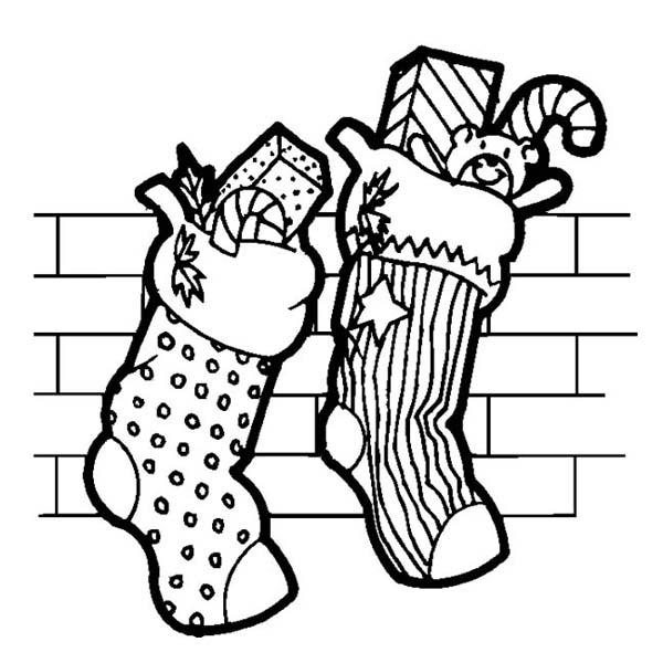 Christmas, : Two Christmas Stocking Full of Candy Coloring Page