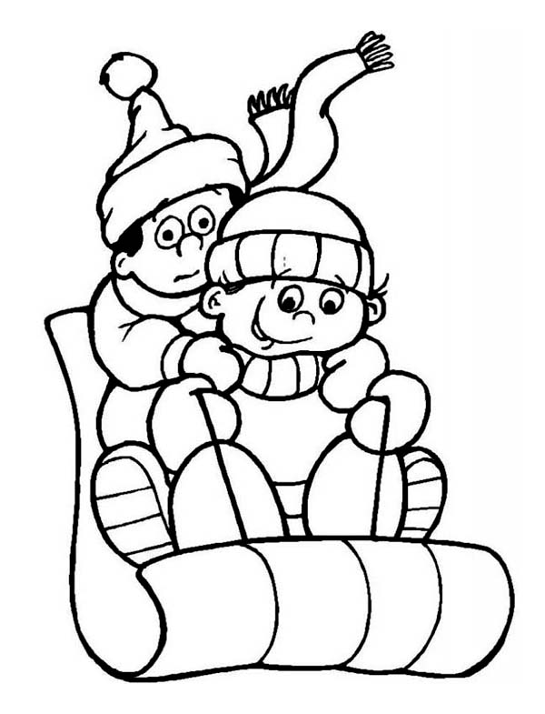 Winter, : Two Kids During Winter Outdoor Activity Coloring Page