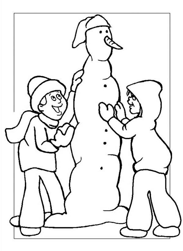Winter, : Two Kids Making a Skinny Snowman on Winter Coloring Page