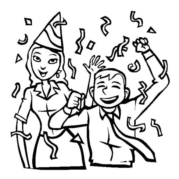 New Year, : Two Office Colleague Celebrating New Year Coloring Page