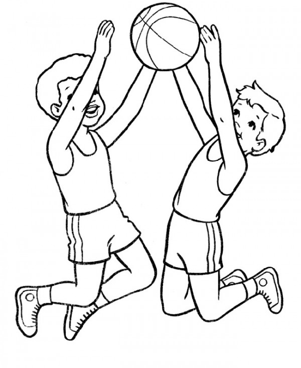 Basketball, : Two boys Jump in the air basketball coloring page