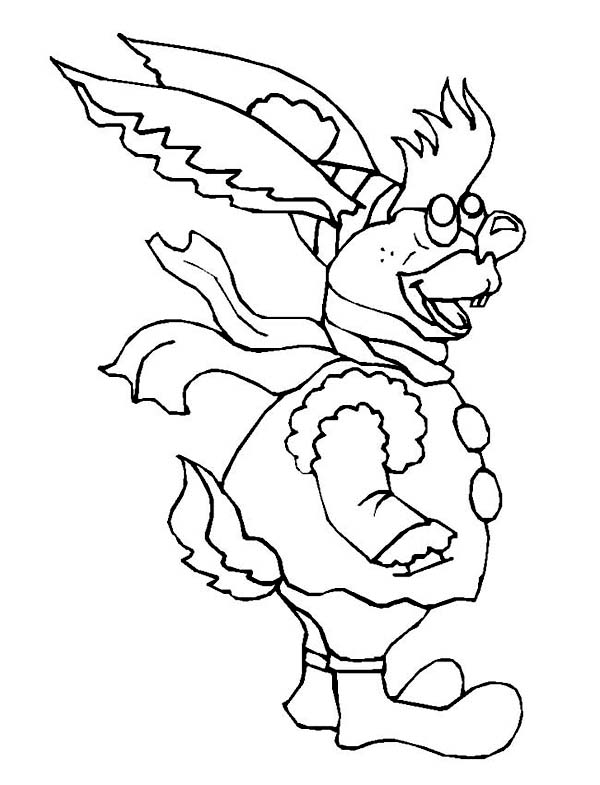 Winter, : Ugly Rabbit on Complete Winter Outfit Coloring Page
