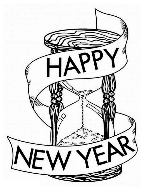 New Year, : Wishing a Happy New Year on the Hourglass Coloring Page